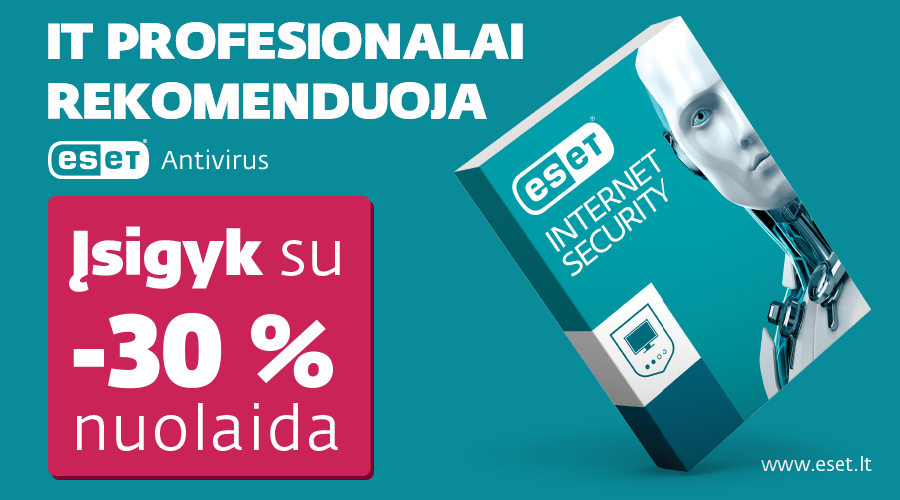 """ESET Internet Security"" el. licencijoms  30 proc. nuolaida."