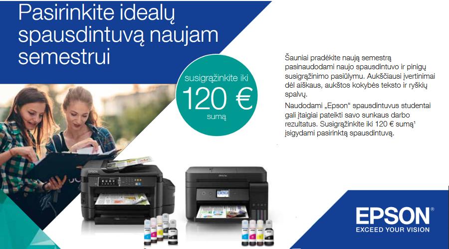 Susigrąžinkite iki 120 Eur, pirkdami EPSON spausdintuvus